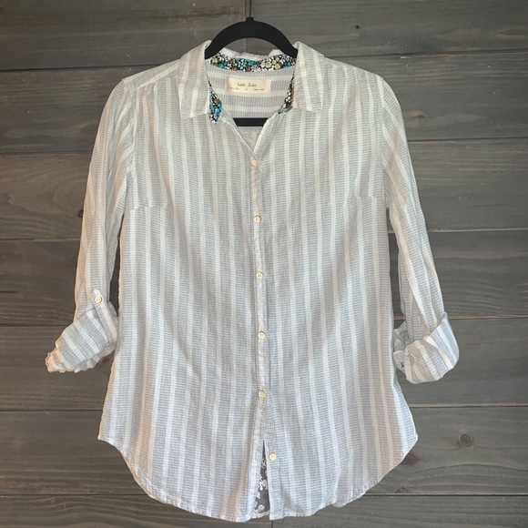 Anthropologie Button Up Shirt with Lace Back